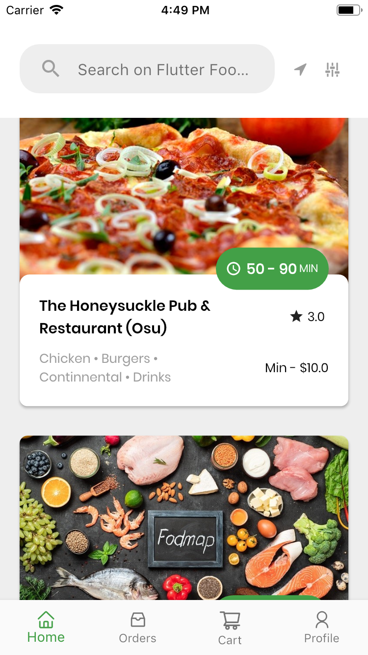 Flutter Food Delivery Theme